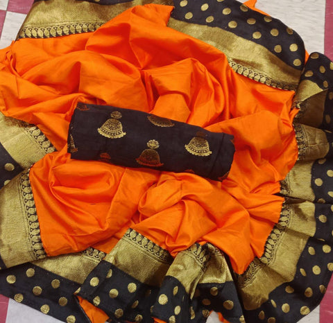 Pepar Silk Orange Color With Printed Goli Lace Border Saree