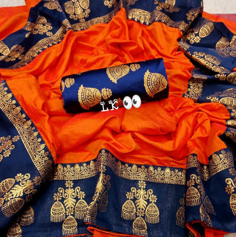 Graceful  Pepar Silk Orange Color With Printed Lace Saree