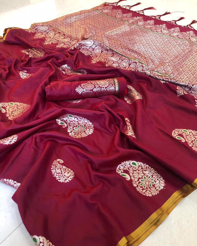Beet Red color Rich Cotton Silk With Heavy Weaving