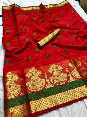 Red color Printed Kumbh Cotton Silk saree