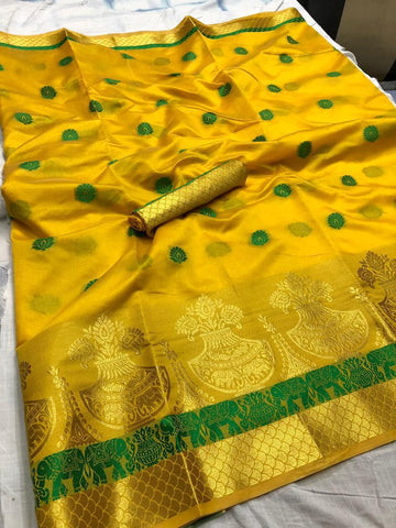 Yellow color Printed Kumbh Cotton Silk saree