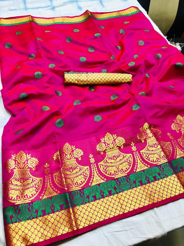 Pink Color Printed Kumbh Cotton Silk saree