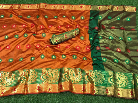 More Orange color Pure Cotton Silk Saree With Contrast Pallu
