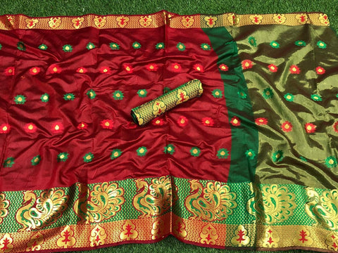 More Red Color Pure Cotton Silk Saree With Contrast Pallu