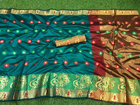 More Rama color Pure Cotton Silk Saree With Contrast Pallu