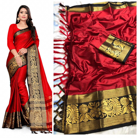 Traditional Plain Rad Color With Designer Border Cotton Silk Saree