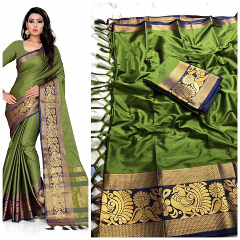 Impressive  Plain Green Color With Designer Border Cotton Saree
