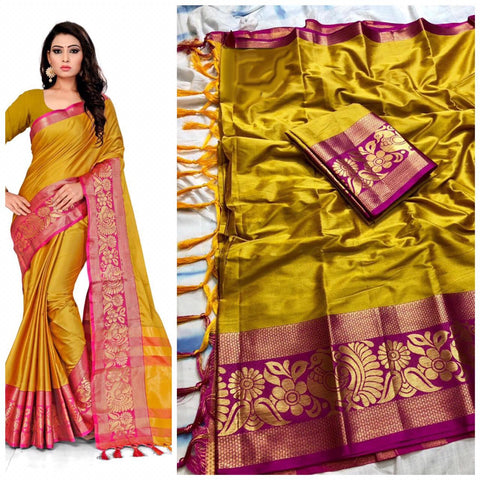 Plain  Mustard  Color With Designer Border Cotton Silk Saree