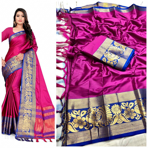 Plain Pink Color With Designer Border Cotton Silk Saree