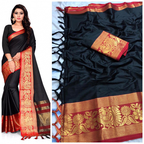 Trendy  Plain Black  Color With Designer Border Cotton Saree