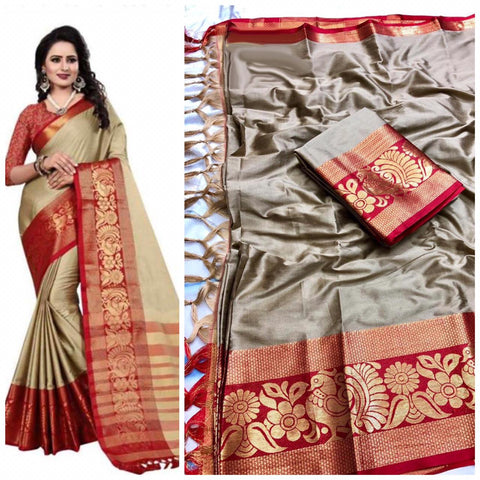 Plain Greay  Color With Designer Border Cotton Silk Saree