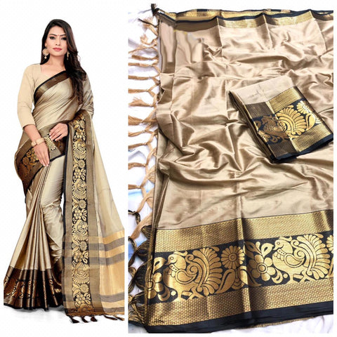 Latest Plain Beige  Color With Designer Border Cotton Silk Saree