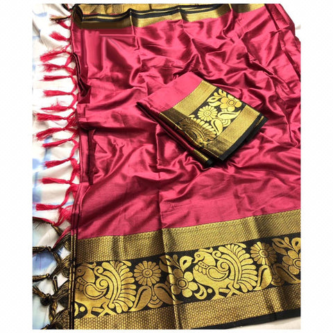 Plain Gajri Color With Designer Border Cotton Silk Saree