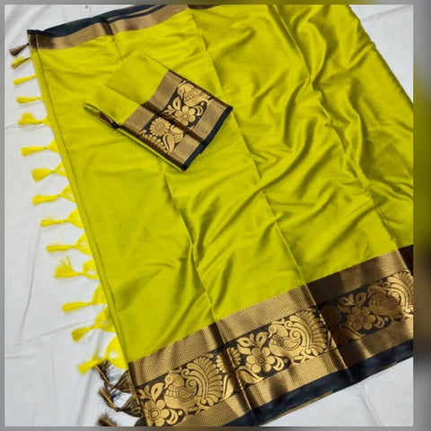 Plain  Perot Color With Designer Border Cotton Silk Saree