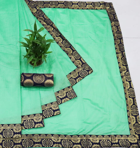 Pista Color Tamtam fabric saree with jacquard lace border and jacquard blouse piece