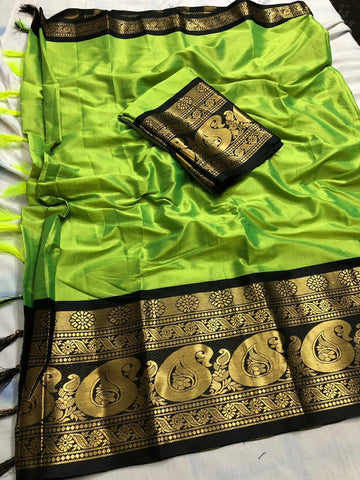Green Cotton Silk Saree With Designer Border