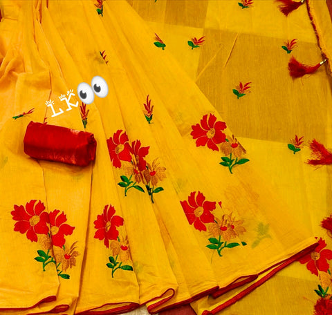 Musterd Chanderi Silk With Embroidery Work Multi Thred Work