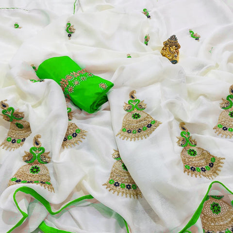 Pretty  Bell Green And White Color Sana Cotton Saree