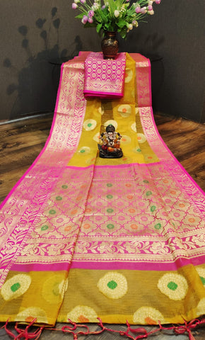 Adhesive  Pink Color Doriya Saree