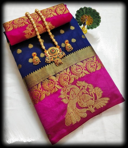 Orignal  Blue and Pink Color Kanjivaram Silk Saree