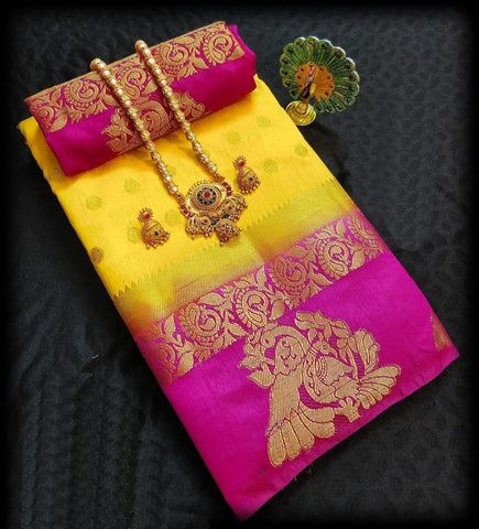 Orignal Yellow and  Pink Color Kanjivaram Silk Saree
