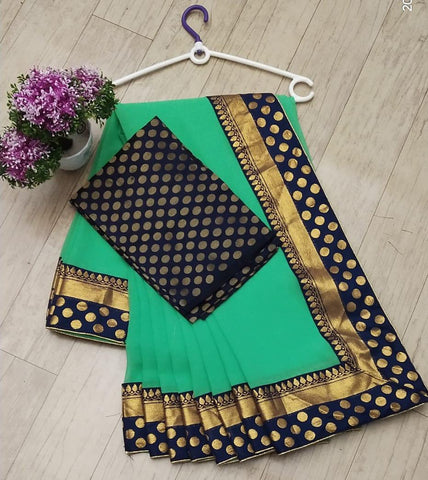 CHANDERI SILK WITH FANCY JEACRD BORDER