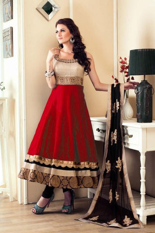 Women Red Color Banglory Satin Anarkali With Dupatta