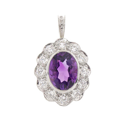 Gemstone Pendant 9081 Pend AM PLT & 18K