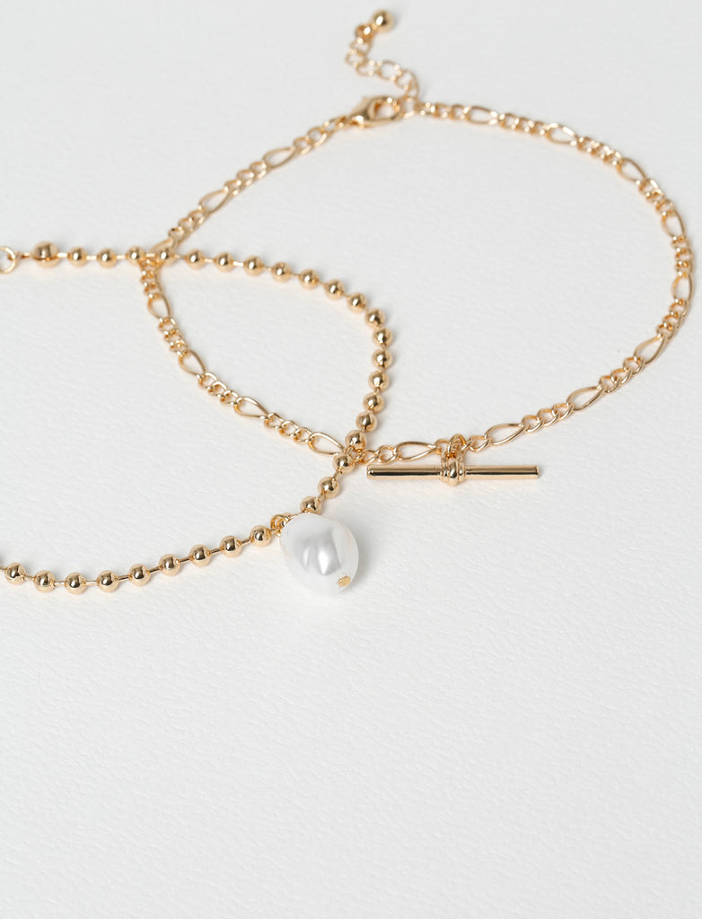 PEARL DROP AND CHAIN ANKLET MULTIPACK