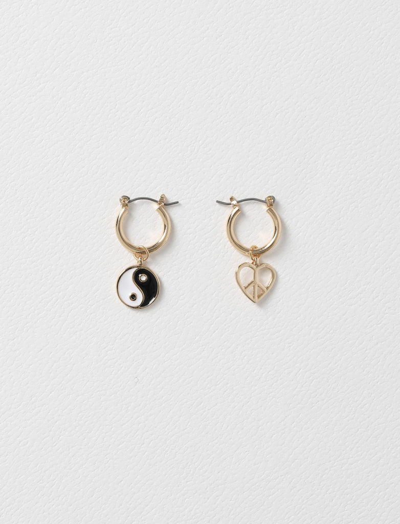 MISMATCH YIN YANG DROP HOOP EARRING