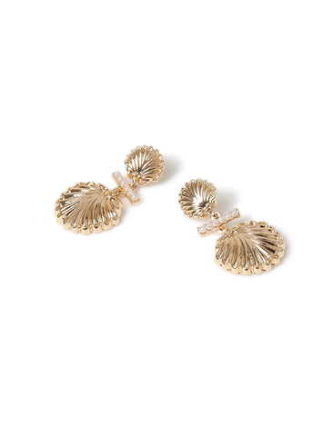 SCALLOP SHELL AND PEARL DROP EARRINGS