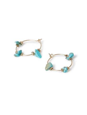 TURQUOISE CHIPPING HOOP EARRINGS