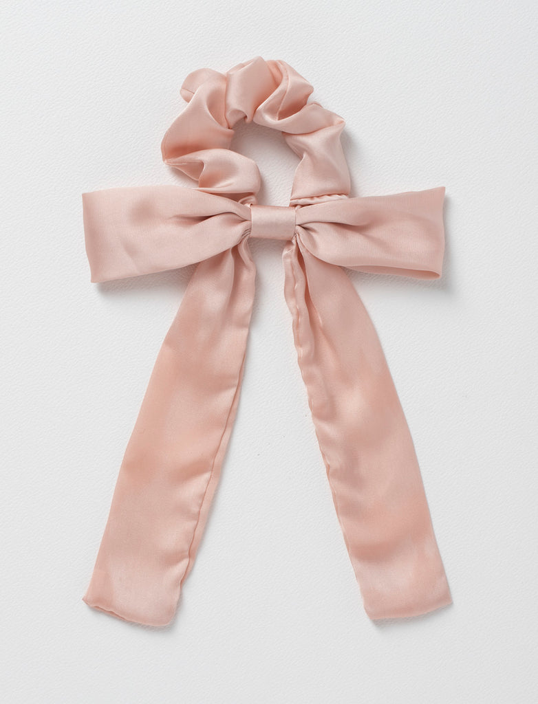 NUDE SATIN BOW SCRUNCHIE