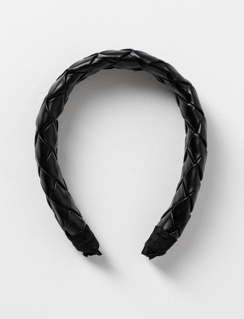 PLAITED FAUX LEATHER HEADBAND