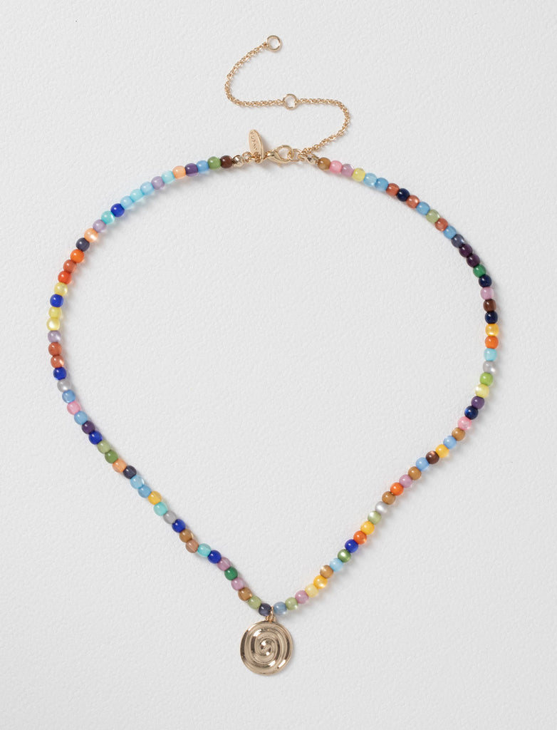 Bead and Swirl Coin Short Necklace