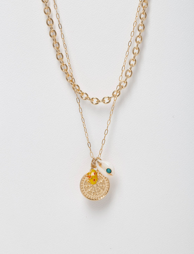 COIN AND SHELL PENDANT MULTIROW NECKLACE