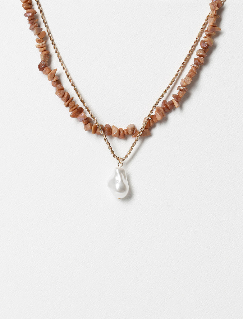 CHIPPING AND PEARL MULTIROW NECKLACE