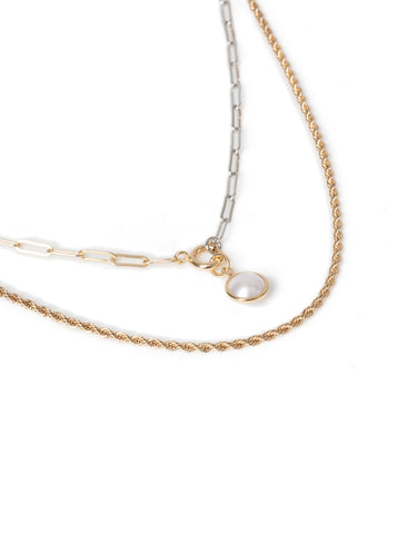 TWIST CHAIN AND PEARL MULTIROW NECKLACE