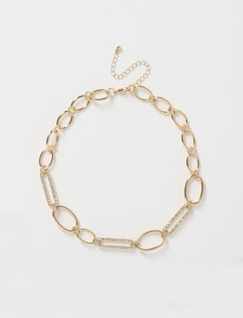 MIXED PAVE CHAIN NECKLACE