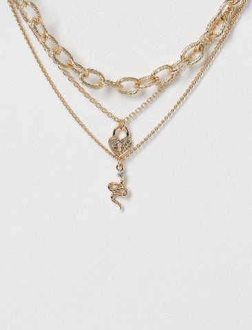 SNAKE AND PADLOCK MULTIROW NECKLACE