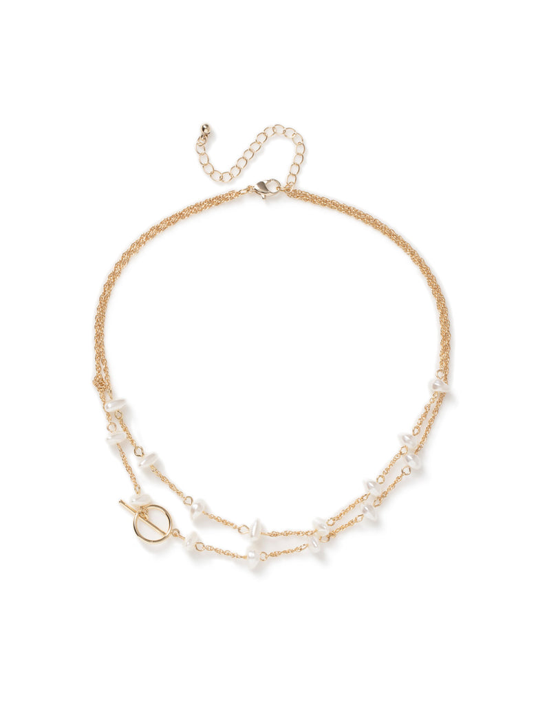 T BAR AND PEARL MULTIROW CHOKER