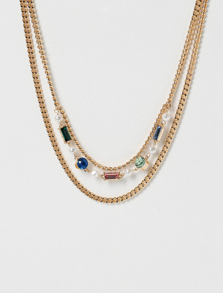 BAGUETTE STONE MULTIROW NECKLACE