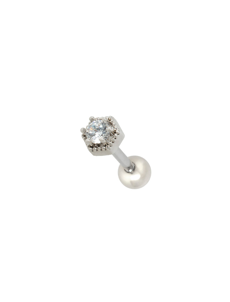 Hexagon Stone Threaded Piercing Stud