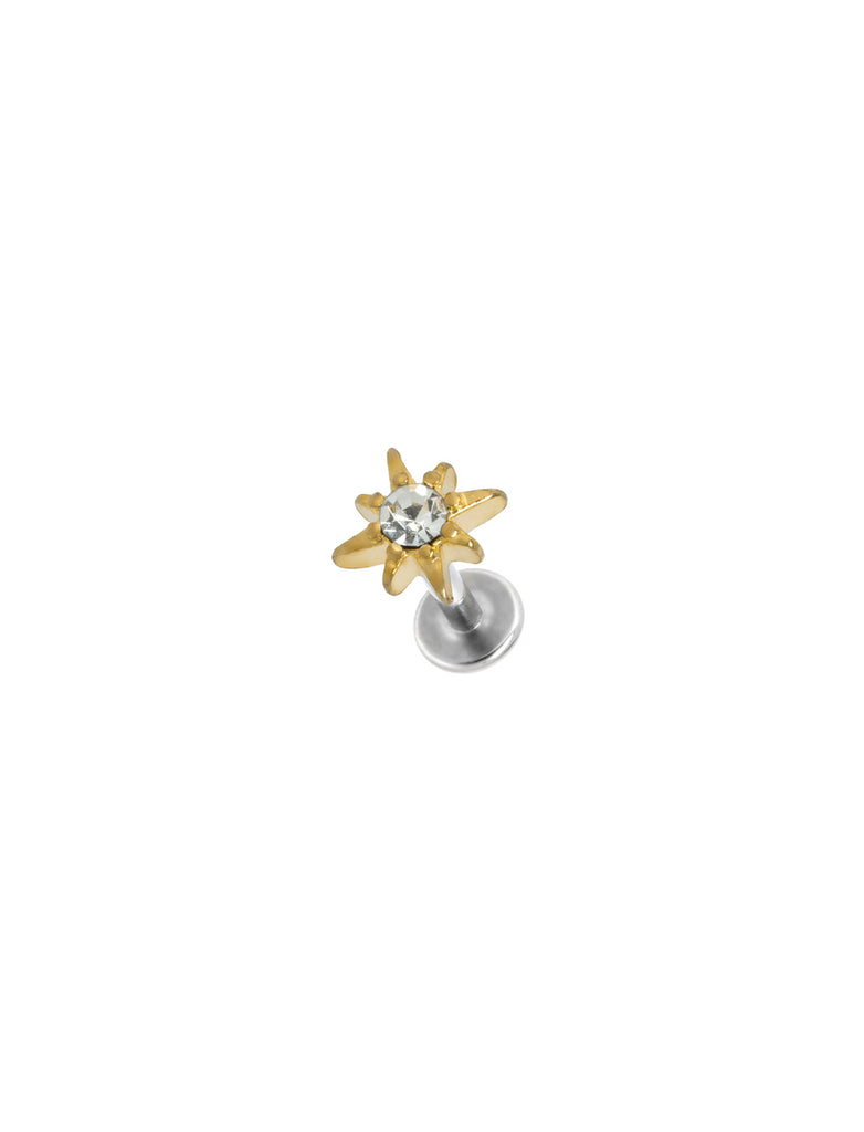 Point Star Gold Threaded Piercing Stud