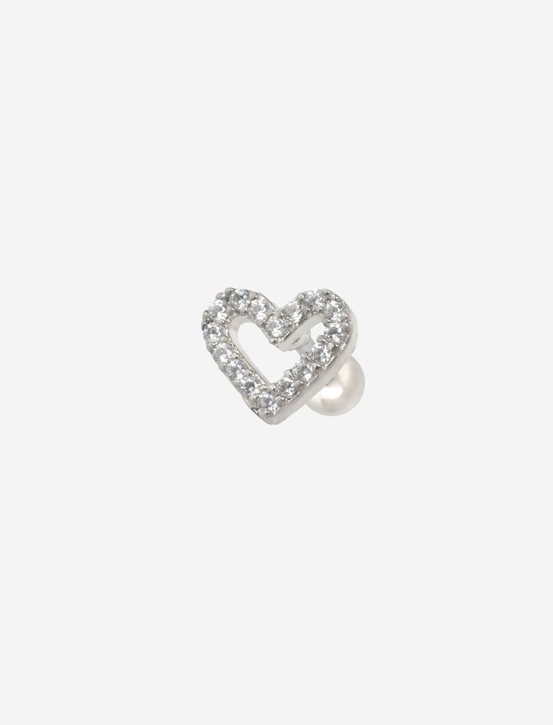 Stone Heart Silver Threaded Stud