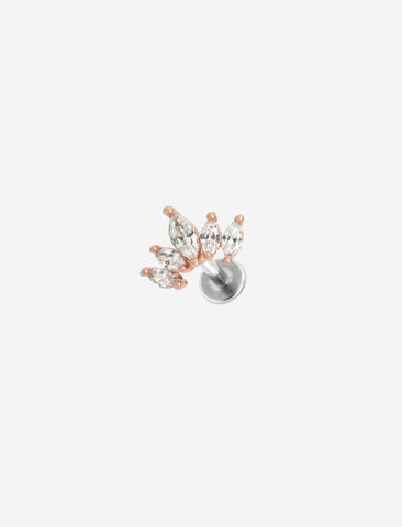 Cluster Stone Rose Gold Threaded Piercing Stud
