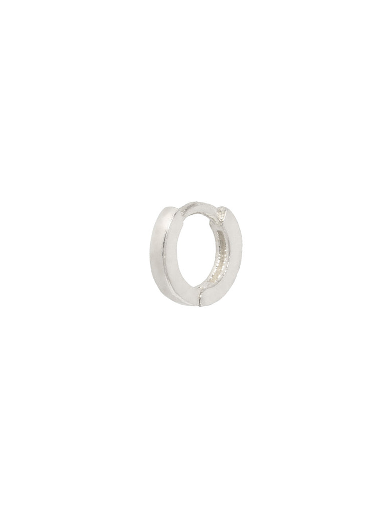 SQUARE EDGE SILVER EAR PIERCING HOOP