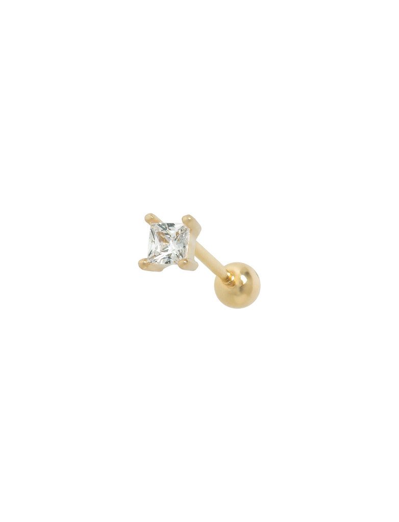 14K Gold Square Stone Threaded Ear Stud