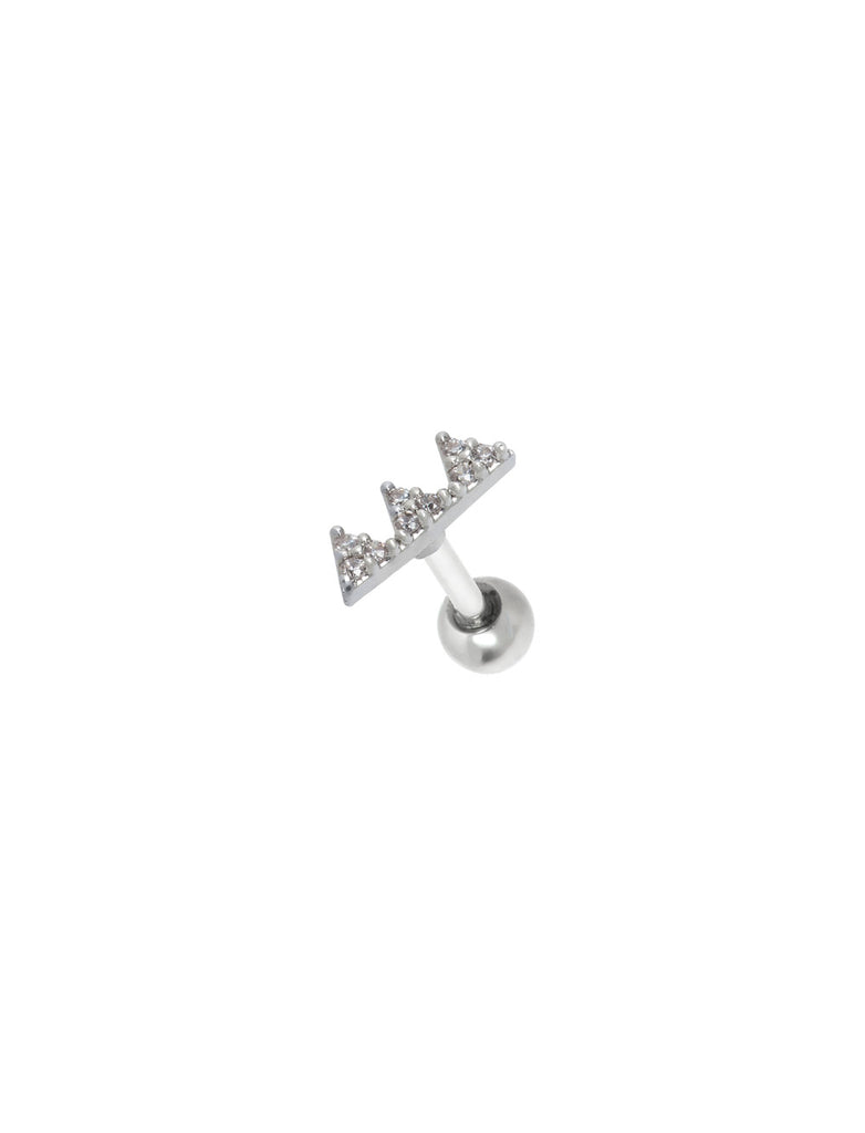 Pave Triangle Threaded Piercing Stud