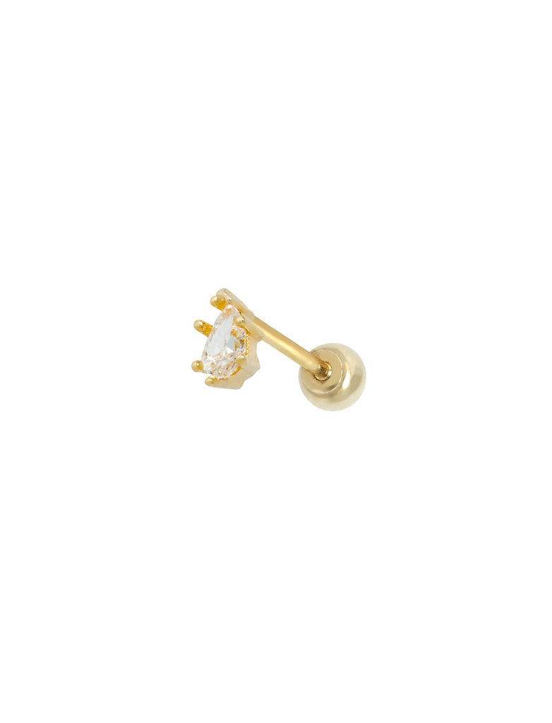 14K Gold Teardrop 1mm Threaded Piercing Stud